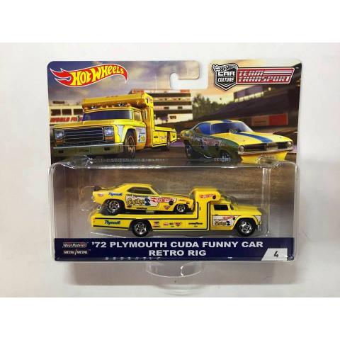 Hot Wheels - 72 Plymouth Cuda Funny Car & Retro Rig - Team Transport