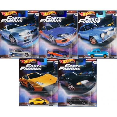 Hot Wheels - Conjunto Fast & Furious - Fast Imports -  Set Completo 5 Miniaturas - HW Premium