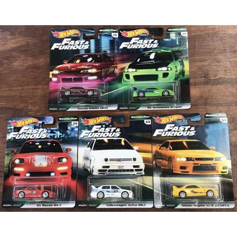 Hot Wheels - Conjunto Fast & Furious - Original Fast -  Set Completo 5 Miniaturas - HW Premium