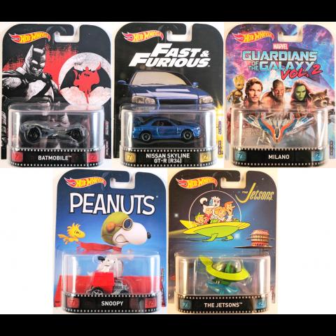 Hot Wheels - Lote C 2017 Completo - Velozes e Furiosos - Batman - Snoopy - Guardiões da Galáxia - Jetsons - Retro