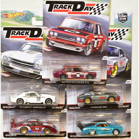 Hot Wheels - Lote D Completo com 05 Miniaturas - Track Day - Car Culture