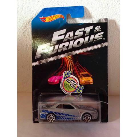 Hot Wheels - Nissan Skyline GT-R (R34) Cinza - Fast & Furious (Capô Pintado)