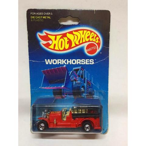 Hot Wheels - Old Number 5 Vermelho  - Mainline 1987- Workhorses