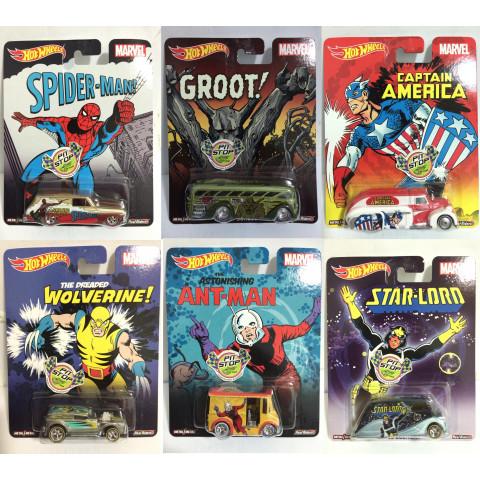 Hot Wheels - Set Marvel Pop Culture - Lote Completo com 06 Miniaturas