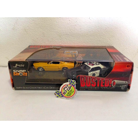 Jada - 67 Shelby GT-500 Amarelo & 65 Ford Mustang Preto - Busted Speed Trap