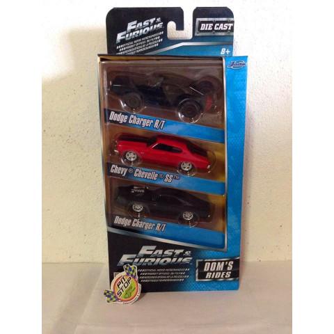 Jada - Dom's Rides - Set Com 03 Miniaturas  Velozes e Furiosos - Escala 1:55 - Fast And Furious