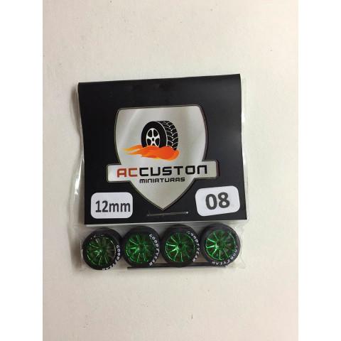 Jogo de Rodas e Eixo para Customização 08 Diâmetro de 12mm Na Cor Verde Pneus Pretos GoodYear