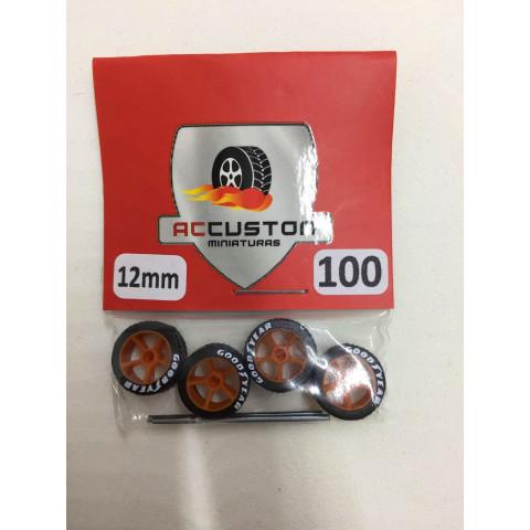 Jogo de Rodas e Eixo para Customização 100 Diâmetro de 12mm Na Cor Laranja Pneus Pretos Goodyear