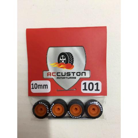 Jogo de Rodas e Eixo para Customização 101 Diâmetro de 10mm Na Cor Laranja Pneus Pretos Goodyear
