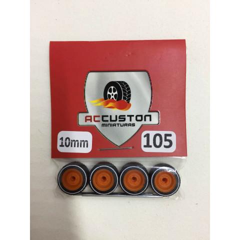 Jogo de Rodas e Eixo para Customização 105 Diâmetro de 10mm Na Cor Laranja Pneus Pretos Faixa Branca