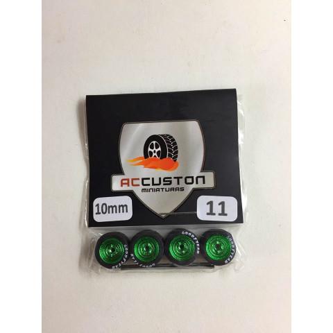 Jogo de Rodas e Eixo para Customização 11 Diâmetro de 10mm Na Cor Verde Pneus Pretos Goodyear
