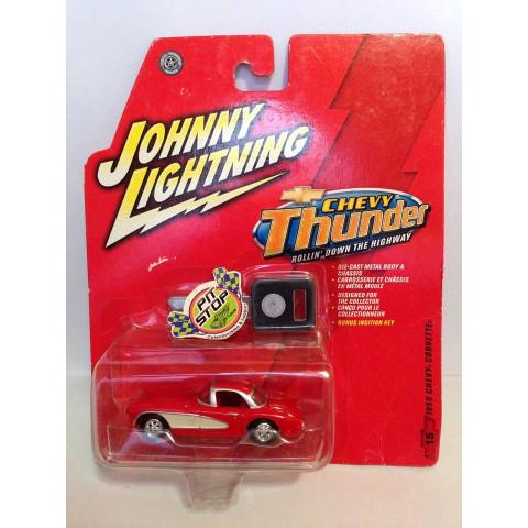Johnny Lightning - 1956 Chevy Corvette Vermelho - Chevy Thunder