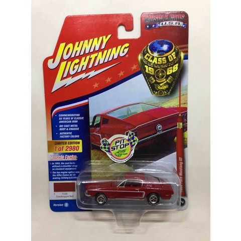 Johnny Lightning - 1968 Ford Mustang GT Vermelho - Muscle Cars U.S.A
