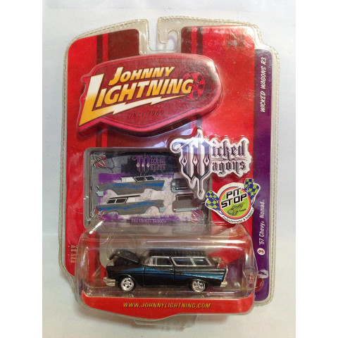 Johnny Lightning - 57 Chevy Nomad Preto - Wicked Wagons