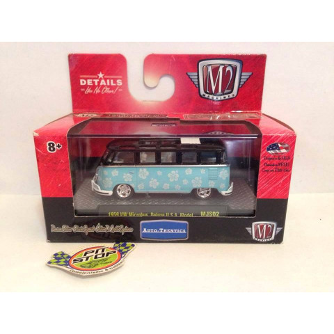 M2 Machines - 1959 VW Microbus Deluxe USA Model Preto/Azul - Auto-Thentics