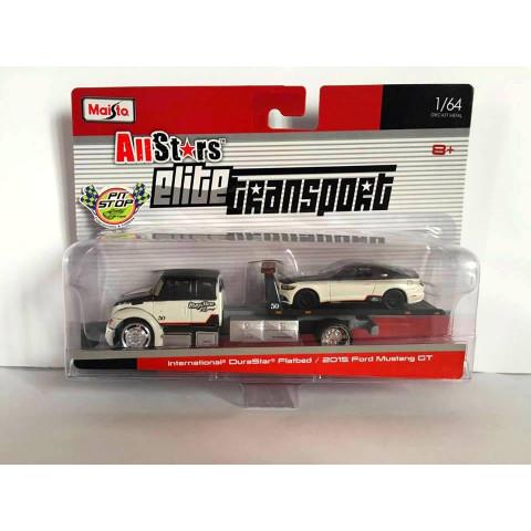 Maisto - International DuraStar Flatbed / 2015 Ford Mustang GT - Elite Transport 1:64