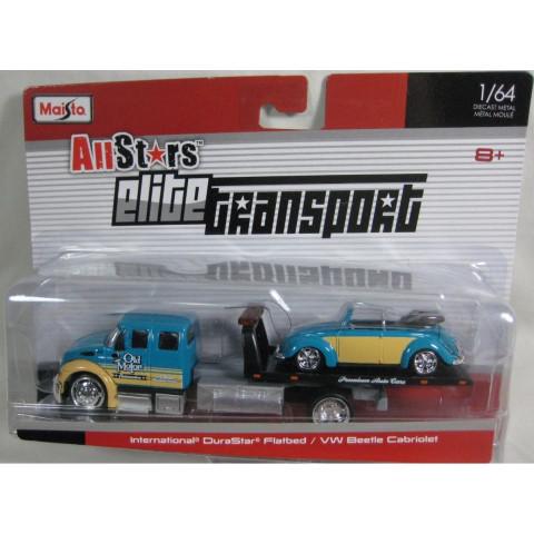 Maisto - International DuraStar Flatbed / VW Beetle Cabriolet - Elite Transport 1:64