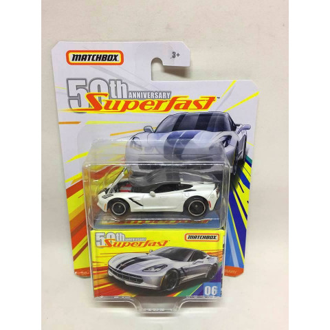 Matchbox - 16 Corvette Stingray Branco - Superfast -  50th Anniversary