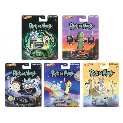 Hot Wheels - Conjunto Pop Culture Premiun Rick and Morty - Set Completo 5 Miniaturas