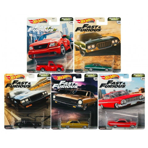 Hot Wheels - Set Motor City Muscle 2020 - Completo 5 Miniaturas - Fast and Furious - Velozes e Furiosos