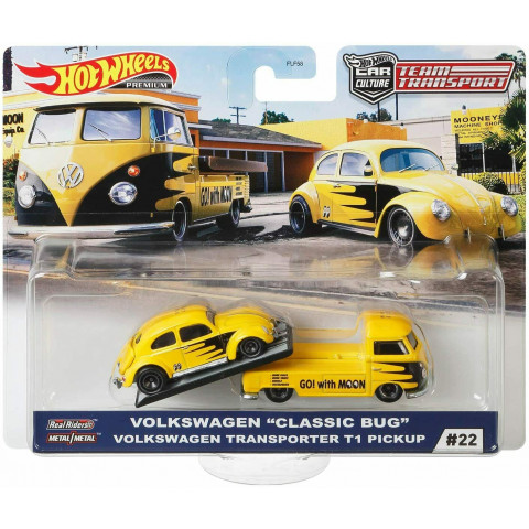 Hot Wheels - Volkswagen Classic Bug Volkswagen Transporter T1 Pickup Moon - Team Transport