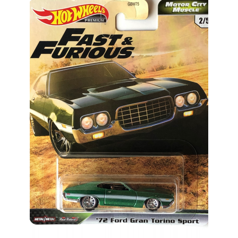 Hot Wheels - 72 Ford Gran Torino Sport - Motor City Muscle - Fast and Furious - Velozes e Furiosos