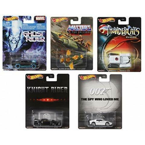 Hot Wheels - Conjunto Retro Premiun KITT - Ghost Rider - Thundercats - 007 - He-Man MOU - Set 5 Miniaturas