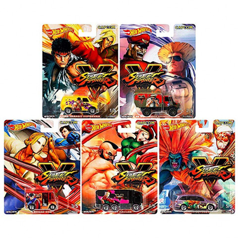 Hot Wheels - Conjunto Street Fighter - Capcom -  Set Completo 5 Miniaturas