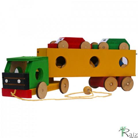 Brinquedo Educativo em Madeira Caminhão Cegonha