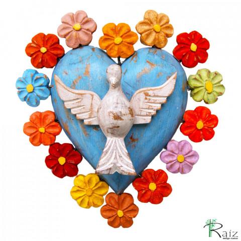 Divino Espírito Santo Coração com Flores Coloridas Madeira Encerado