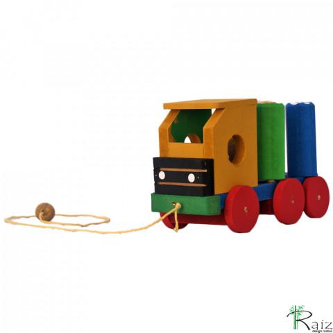 Brinquedo Educativo em Madeira Caminhão Gira Toco