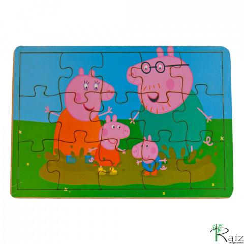 Brinquedo Educativo em MDF Quebra-Cabeça Peppa Pig