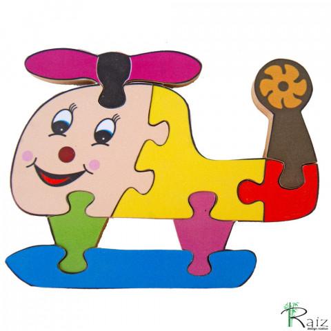 Brinquedo Pedagógico - Quebra-Cabeça Helicóptero (18x14)cm