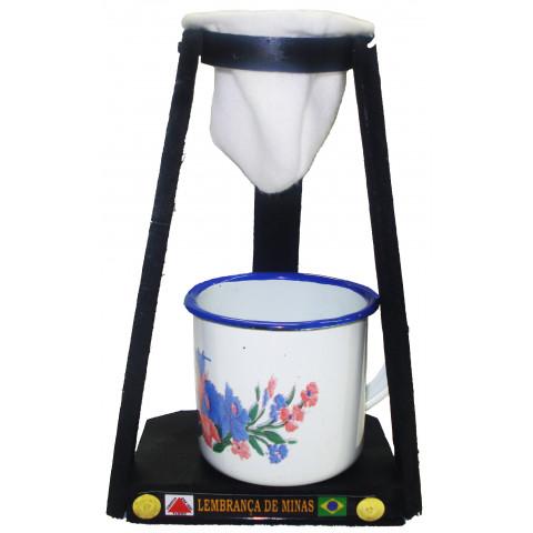 Coador Com Xícara Esmaltada (400mL)