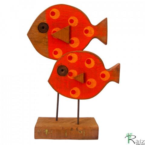Escultura de Mesa em Madeira de Demolição Peixes Vermelho