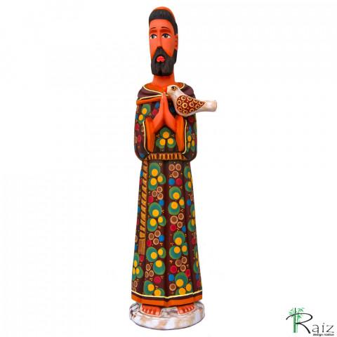 Escultura São Francisco de Assis em Madeira Entalhada e Pintada à Mão