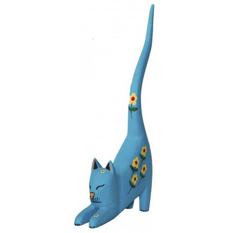 Gato Porta Anel Azul Madeira  Linha Luxo