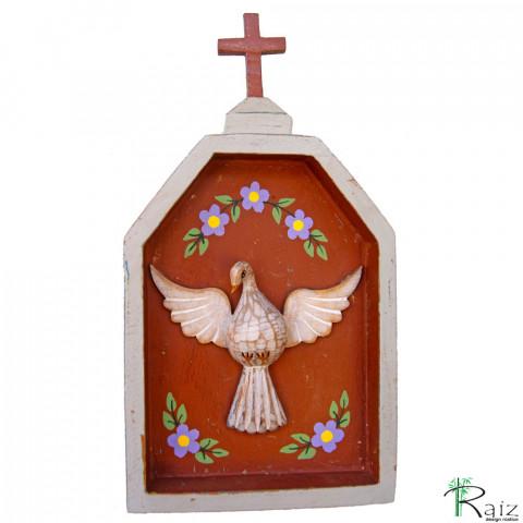 Oratório Divino Espírito Santo Madeira para Mesa ou Parede Cinza e Marrom
