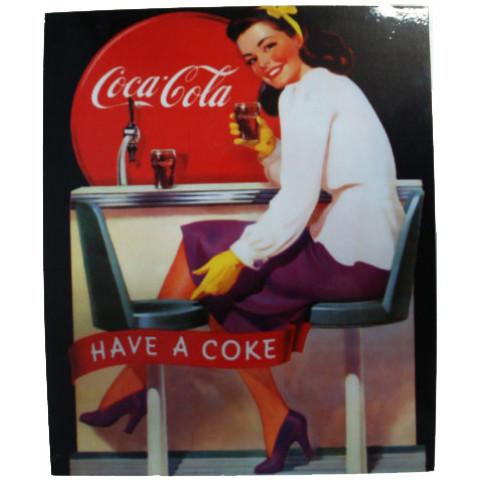 Placa Retrô Coca Cola 3 Linha Vintage (23x19cm)
