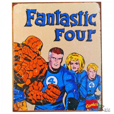 Placa Retrô Coleção Desenhos Quarteto Fantástico Linha Vintage (23x19cm)
