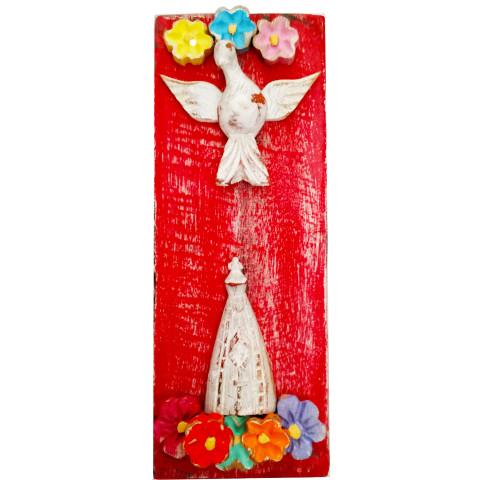 Quadro Divino Espírito Santo e Nossa Senhora Aparecida 2 (25x12cm)