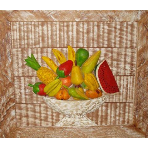 Quadro Fruteira (Frutas) Madeira Com Moldura