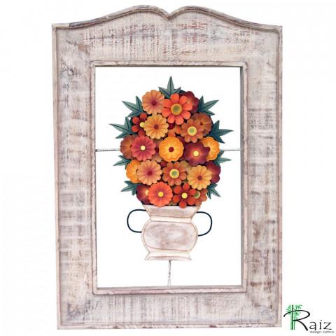 Quadro Vaso de Flores Vazado Madeira Laranja 64cm