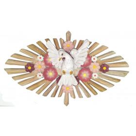 Divino Espírito Santo Oval Flores Rosê Linha Fina (45cm)
