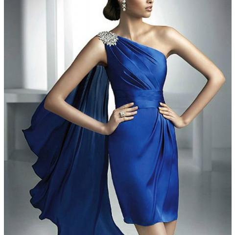 Vestido Cetim Tubinho Um Ombro Bordado Plissado Azul (customização cor e tamanho) [RBA101868]
