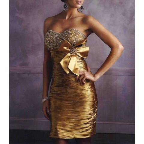 Vestido Curto Cetim Drapeado Bordado Dourado (PP até 8G e customização de cor e tamanho) [RBA101516]