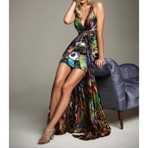 Vestido Longo Cetim Decotado Bordado Estampado (customização cor e tamanho) [RBA101586]