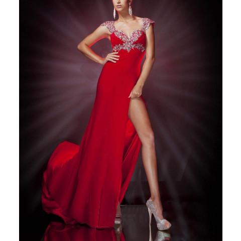 Vestido Longo Chiffon Frente Única Decotado Bordado Com Fenda - Preto e Vermelho (PP até 8G e customização de cor e tamanho) [RBA101897]