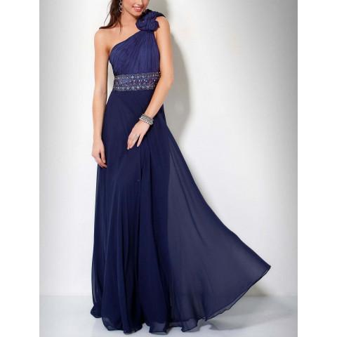 Vestido Longo Chiffon Um Ombro Bordado Azul Marinho (customização cor e tamanho) [RBA102033]