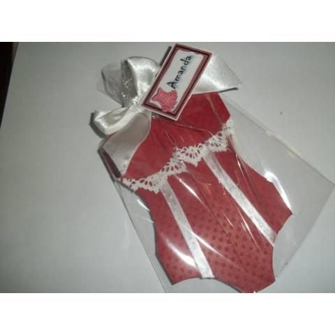 Convite Chá de Lingerie - Corpete vermelho